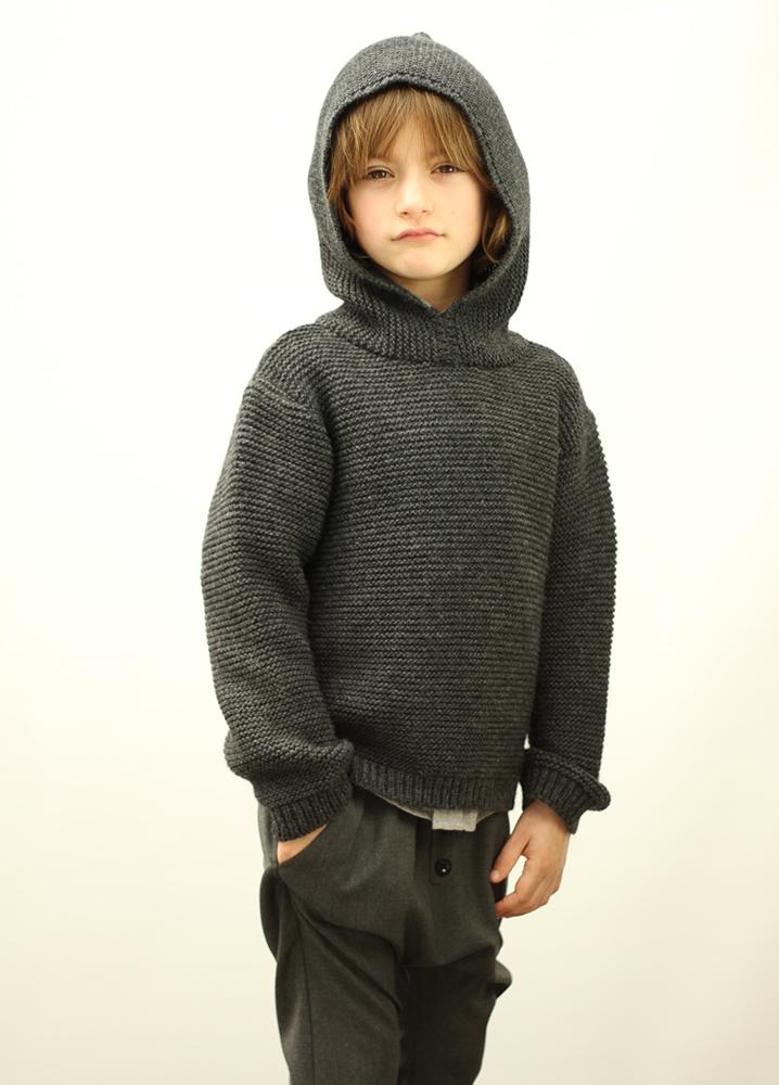 Knitted Hoodie Dark Grey Motoreta